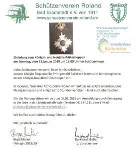 Neujahresempfang der Königin @ Schützenheim